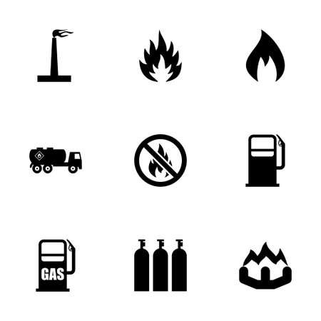 gas icon: Vector gas naturale icon set su sfondo bianco