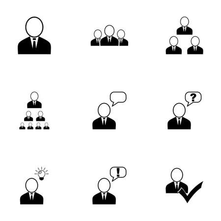 Vector office people icon set on white background Illustration