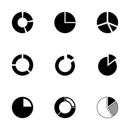 segmented: Vector pie chart icon set on white background Illustration