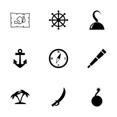 Vector pirate icon set on white background