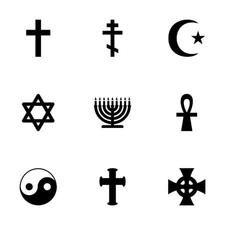 noahs: Vector religious symbols icon set on white background Illustration