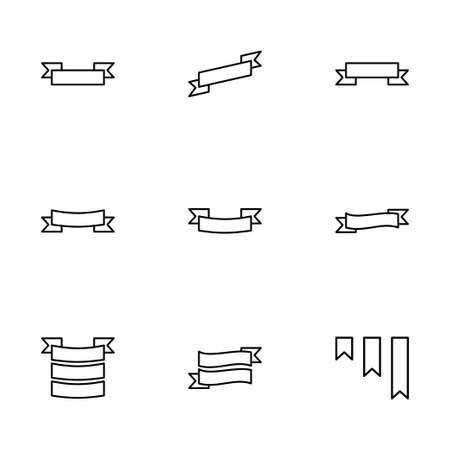Vector ribbon icon set on white background Иллюстрация