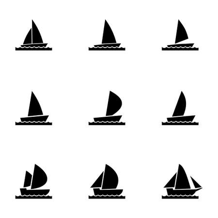 inflate boat: Vector sailboat icon set on white background