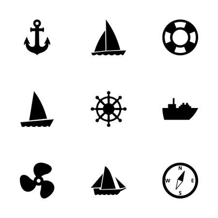 Vector ship and boat icon set on white background Vector