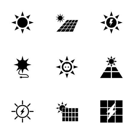 Vector solar energy icon set on white background Иллюстрация