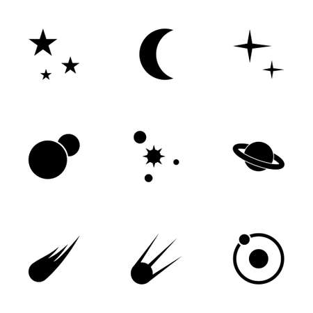 space station: Vector space icon set on white background