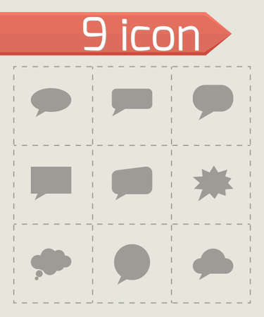 Vector speach bubbles icon set on grey background Vector