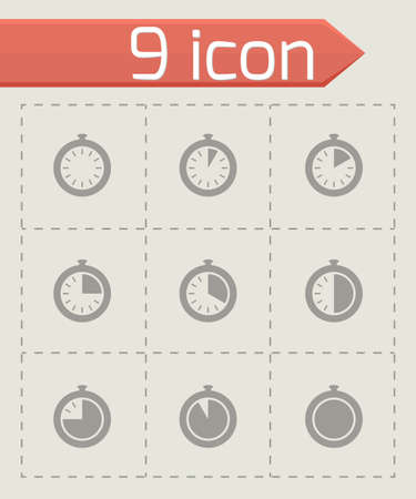Vector stopwatch icon set on grey background Vector