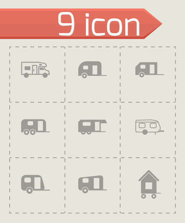 wheeled tractor: Vector trailer icon set on grey background Illustration