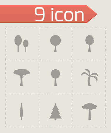 Vector trees icon set on grey background Vector
