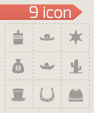 Vector wild west icon set on grey background Vector