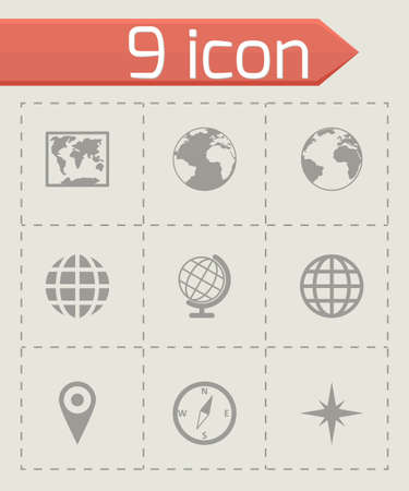 Vector world map icon set on grey background Vector