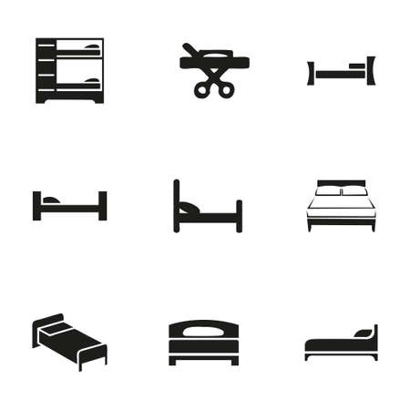 Vector bed icon set on white background Vector
