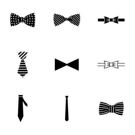 Vector bow ties icon set on white background