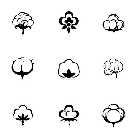 Vector katoen icon set op een witte achtergrond