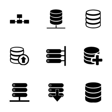 Vector database icon set on white background Vector