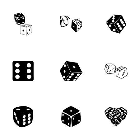 Vector dice icon set on white background Vector