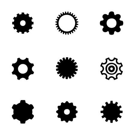 Vector gear icon set on white background Vector