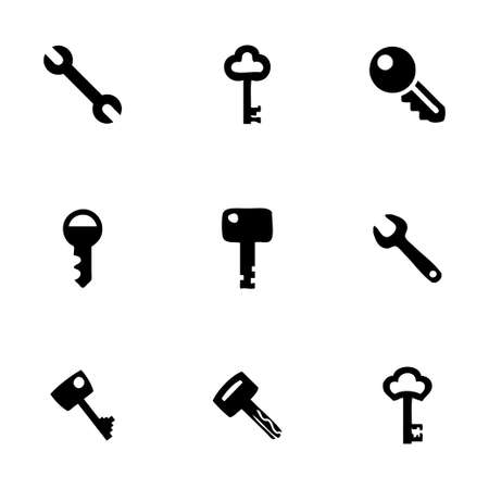 Vector key icon set on white background Vector