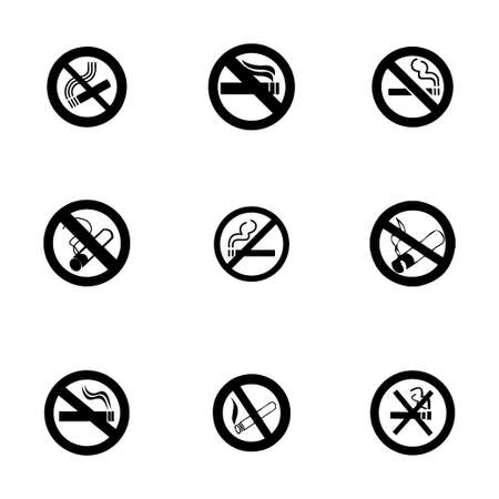 alerting: Vector no smoking icon set on white background