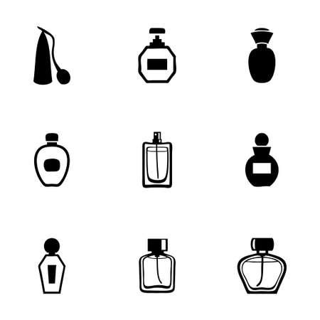 Vector perfume icon set on white background