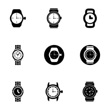 Vector wristwatch icon set on white background Illustration