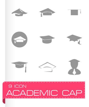 valedictorian: Vector academic icon set on grey background