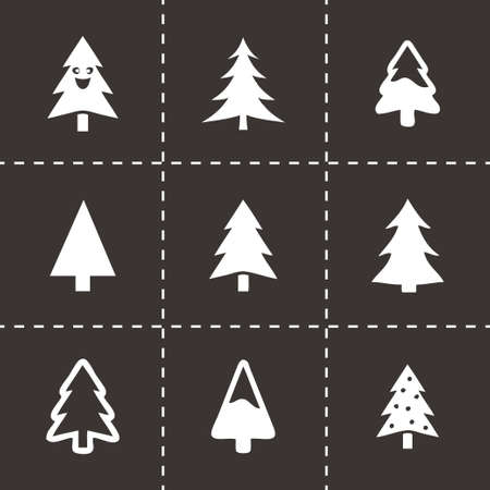 cristmas: Vector cristmas trees icons set on black background Illustration