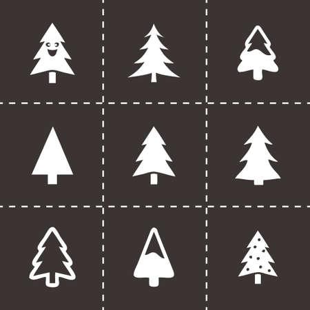 cristmas: Vector cristmas trees icons set on black background Illustration
