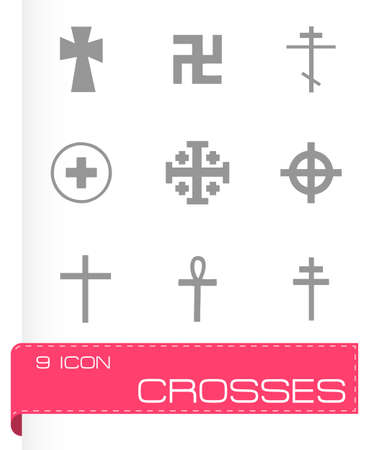 crosses: Vector crosses icons set on grey background
