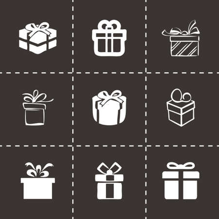 giftware: Vector gift  icons set on black background