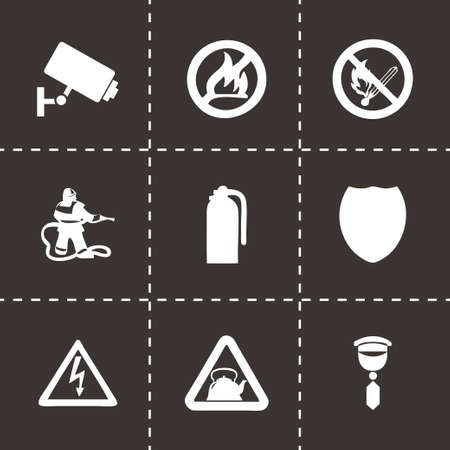 home security: Vector home security icons set on black background