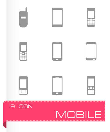 Vector mobile icons set on grey background Vector