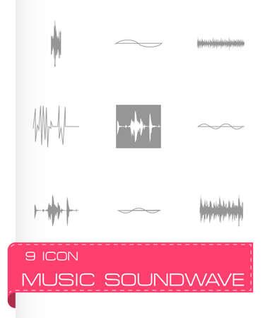 soundwave: Vector music soundwave icons set on grey background