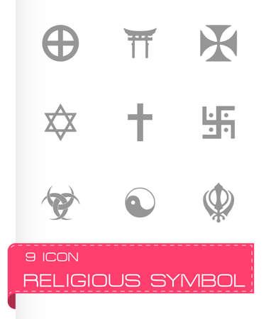 Vector religious symbols icon set on grey background Illustration