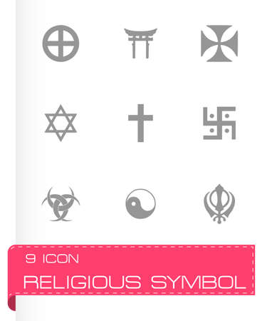 noahs: Vector religious symbols icon set on grey background Illustration