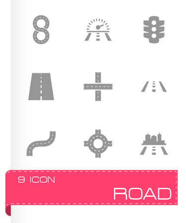 Vector road icon set on grey background Vector