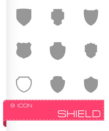 Vector shield icon set on grey background Vector