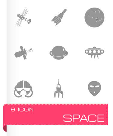 Vector space icon set on grey background Vector