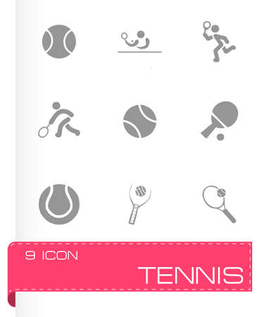 Vector tennis icon set on grey background Vector