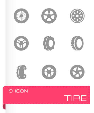 Vector tire icon set on grey background Vector