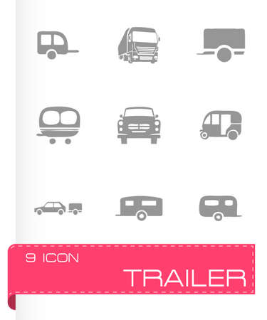 coupling: Vector trailer icon set on grey background Illustration