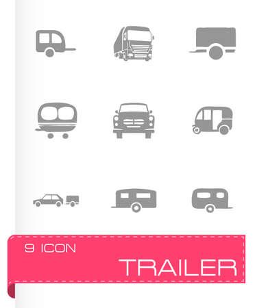 Vector trailer icon set on grey background Иллюстрация