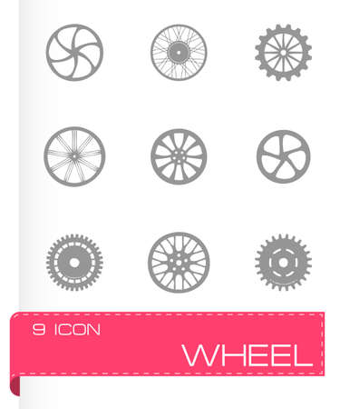 Vector wheel icon set on grey background Vector