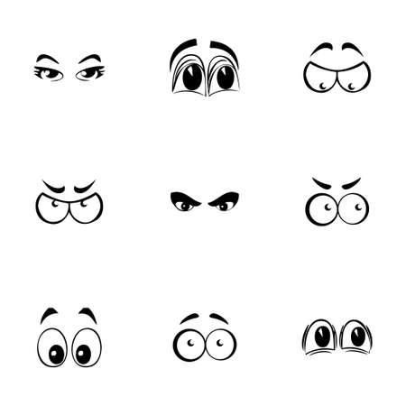 ojos caricatura: Ojos Vector de dibujos animados iconos conjunto sobre fondo blanco