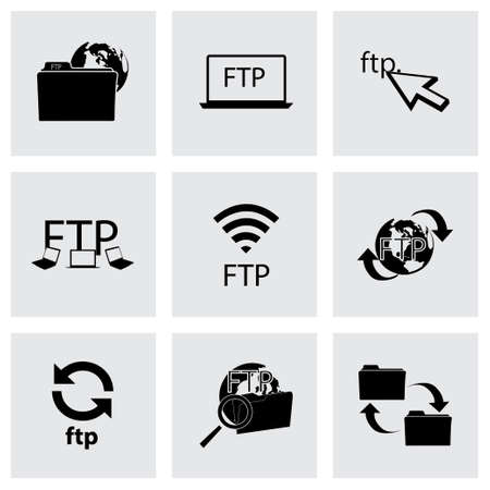 ftp: Vector FTP  icons set on grey background