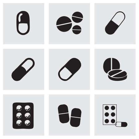 pastillas: Píldoras Vector iconos conjunto sobre fondo gris