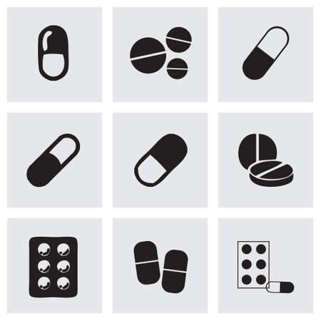pharmacy pills: Vector pills icons set on grey background
