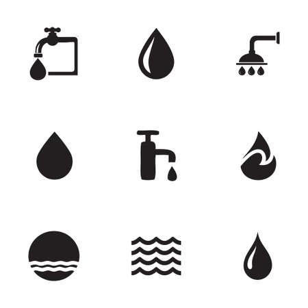 agua: Iconos de agua de vectores en el fondo blanco