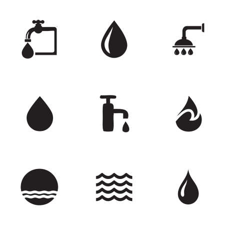 on tap: Vector water icons set on white background Illustration